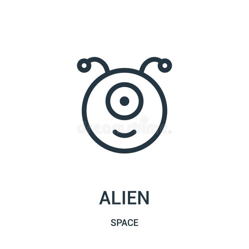 vector extranjero del icono de la colección del espacio Línea fina ejemplo extranjero del vector del icono del esquema stock de ilustración