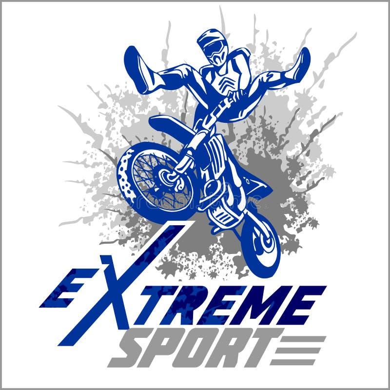 Vector extreme sport - motoembleem royalty-vrije illustratie