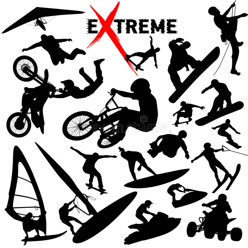 Vector eXtreme sport silhouettes stock illustration