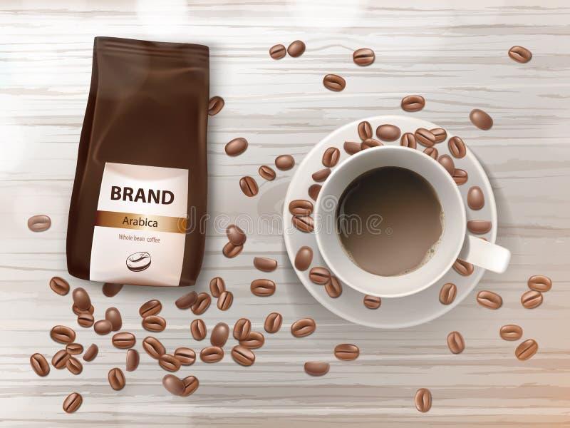 Vector Förderungsfahne mit Kaffeetasse und Bohnen vektor abbildung