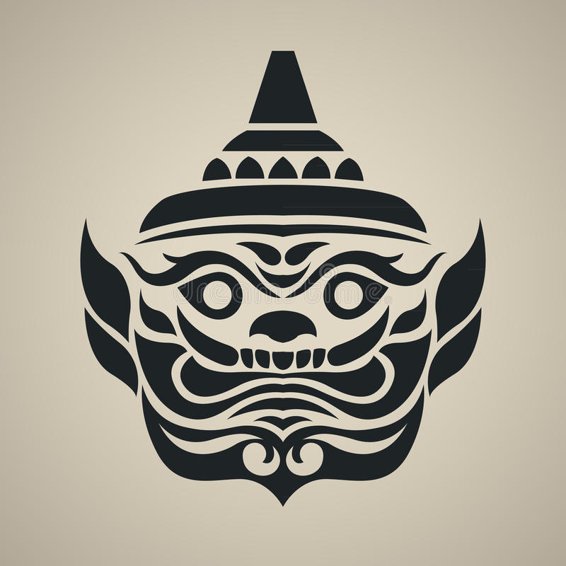 Vector face of giant thailand, Vintage traditional Thai style royalty free illustration