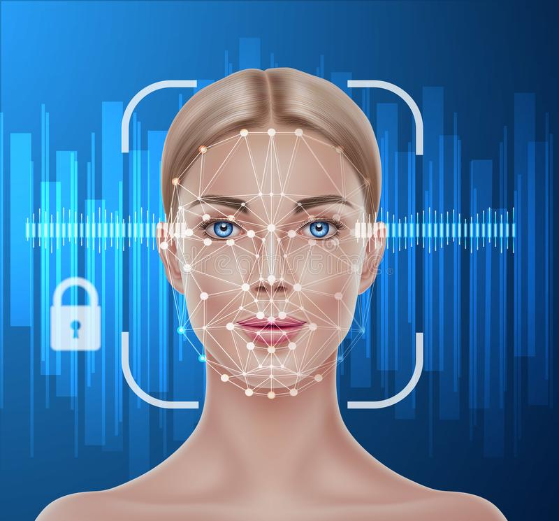 Vector face recognition biometric scanning of girl. Face recognition concept. Biometric face scanning of realistic beautiful girl. Personal verification, cyber stock illustration