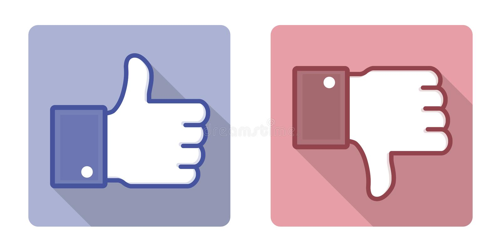 Vector Facebook Like Dislike Thumb Up Sign. Vector illustration of the facebook thumb up and thumb down hands. Isolated on white