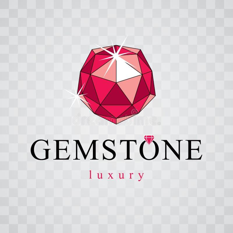 Vector faceted gemstone illustration with sparkles, polygonal. Brilliant jewelry sign emblem, logo vector illustration