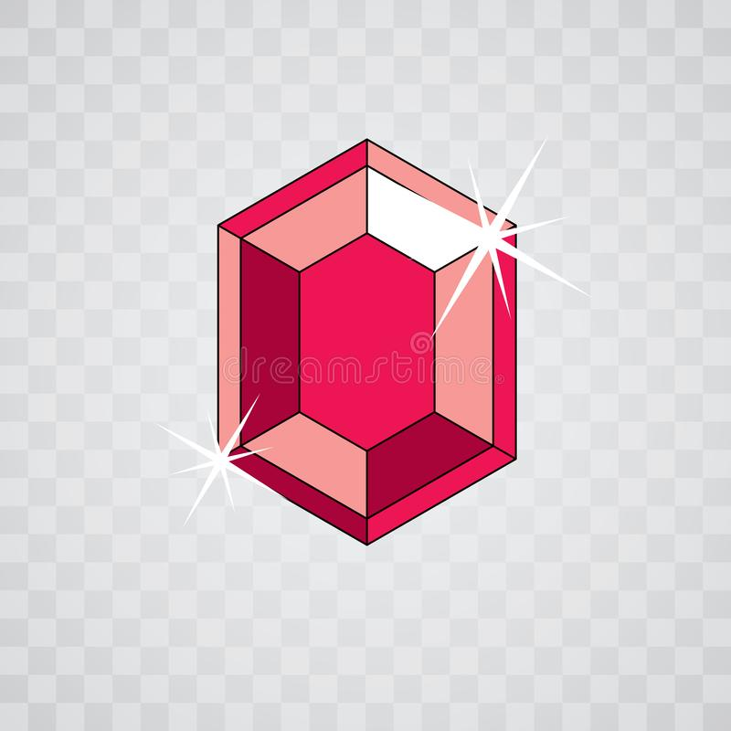 Vector faceted gemstone illustration with sparkles, polygonal. Luxury diamond icon royalty free illustration