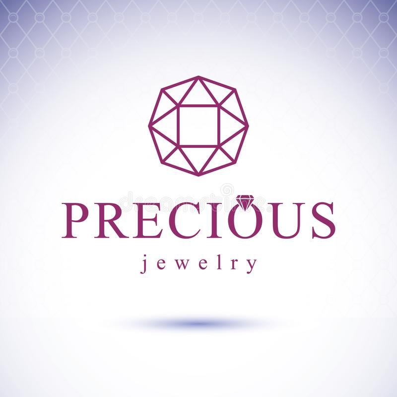 Vector faceted gemstone illustration with sparkles, polygonal. Luxury diamond sign emblem vector illustration