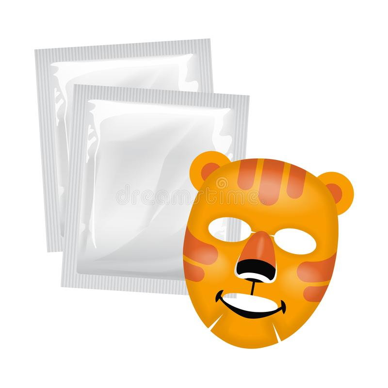 Vector facial mask, skin care concept, mask with a tiger face, skin treatment vector illustration