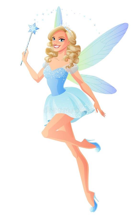 Vector a fada azul bonita com as asas mágicas da varinha e da libélula ilustração do vetor