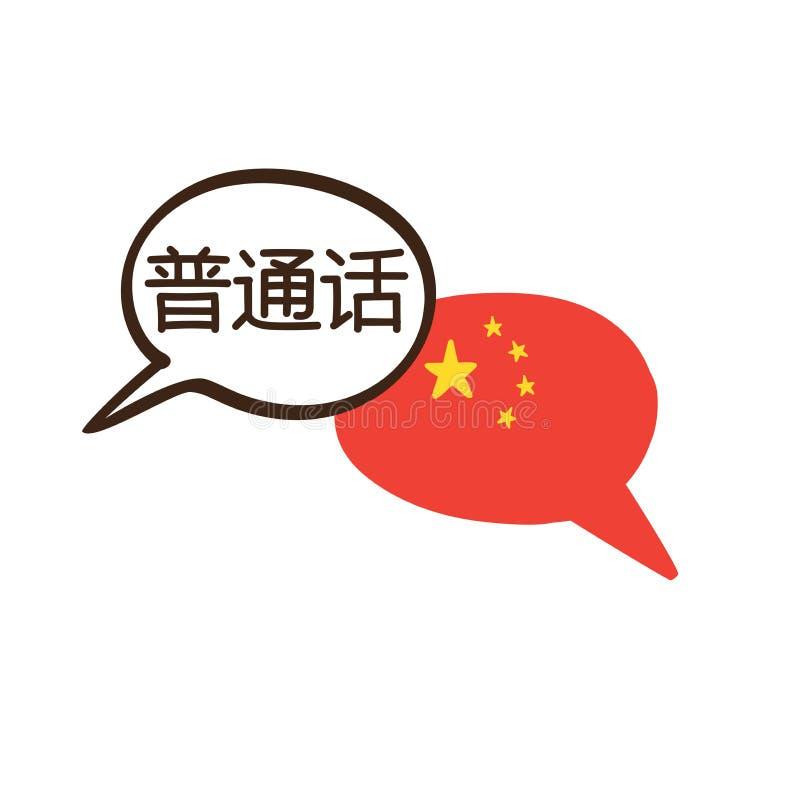 Vector Fahne mit chinesischer Sprache und Staatsflagge von China lizenzfreie abbildung