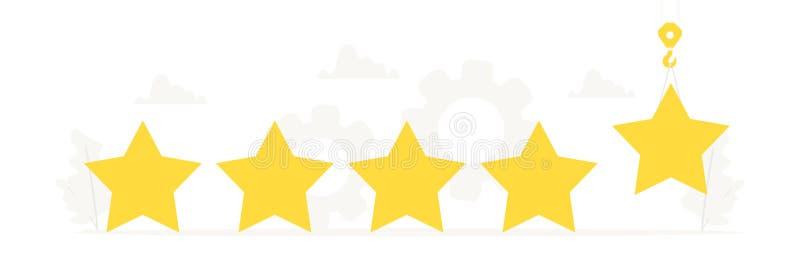 Vector Fahne mit großen Sternen für Konzept des Entwurfes Bewertung, Feedback, Bewertungssystem, positiver Bericht, Qualitätsarbe vektor abbildung