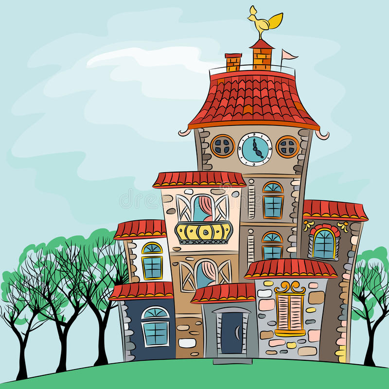 Vector fairytale multicolored house royalty free stock photography