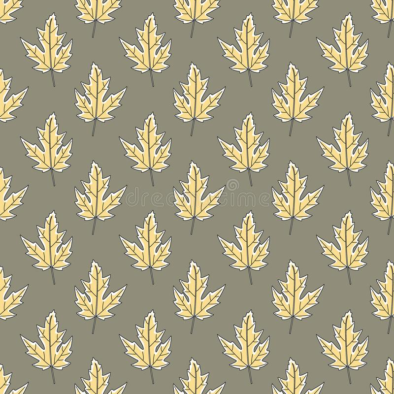 Vector Fall Autumn Leaves in Gold Yellow on Green Seamless Repeat Pattern. Background for textile or book covers, manufacturing, wallpapers, print, gift wrap vector illustration