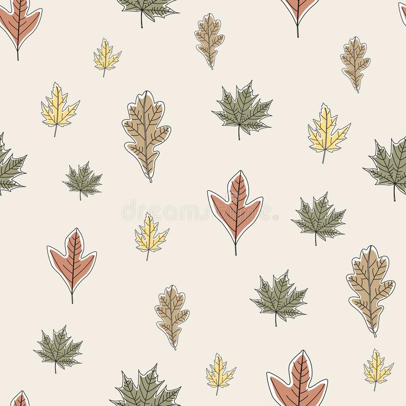 Vector Fall Autumn Leaves in Orange Gold Green Brown on Beige Seamless Repeat Pattern. Background for textile or book covers, manufacturing, wallpapers, print stock illustration