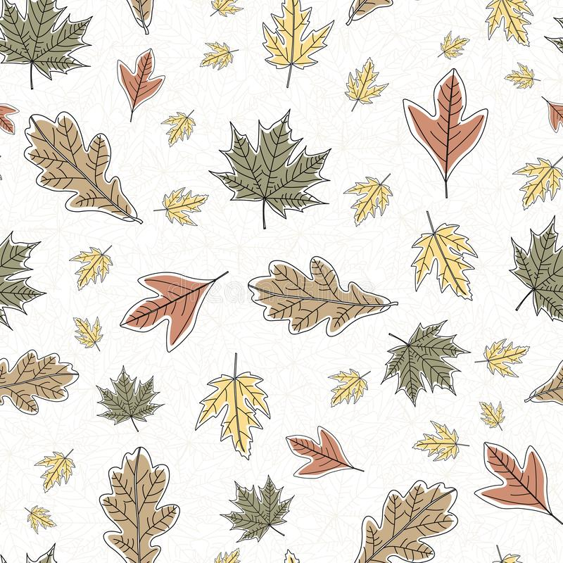 Vector Fall Autumn Leaves in Orange Gold Green Brown Seamless Repeat Pattern. Background for textile or book covers, manufacturing, wallpapers, print, gift royalty free illustration