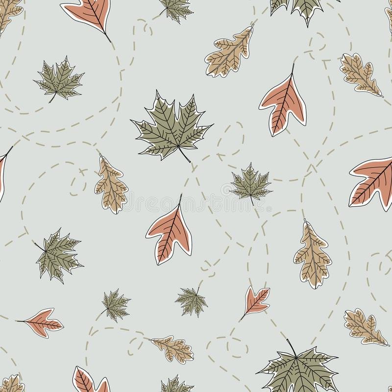 Vector Fall Autumn Leaves in Orange Gold Green Brown Seamless Repeat Pattern. Background for textile or book covers, manufacturing, wallpapers, print, gift vector illustration