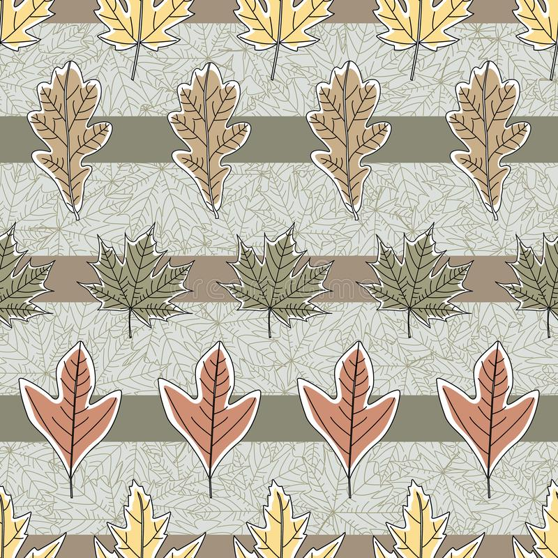 Vector Fall Autumn Leaves in Orange Gold Green Brown on Stripes Seamless Repeat Pattern. Background for textile or book covers, manufacturing, wallpapers stock illustration