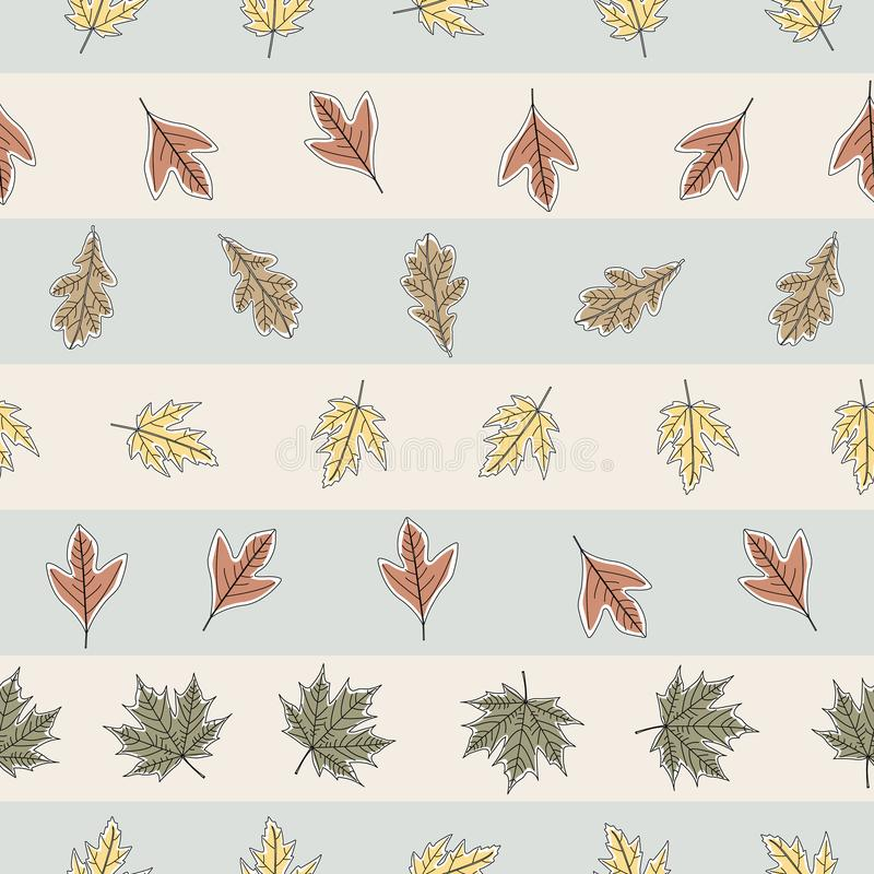 Vector Fall Autumn Leaves in Orange Gold Green Brown on Stripes Seamless Repeat Pattern. Background for textile or book covers, manufacturing, wallpapers vector illustration