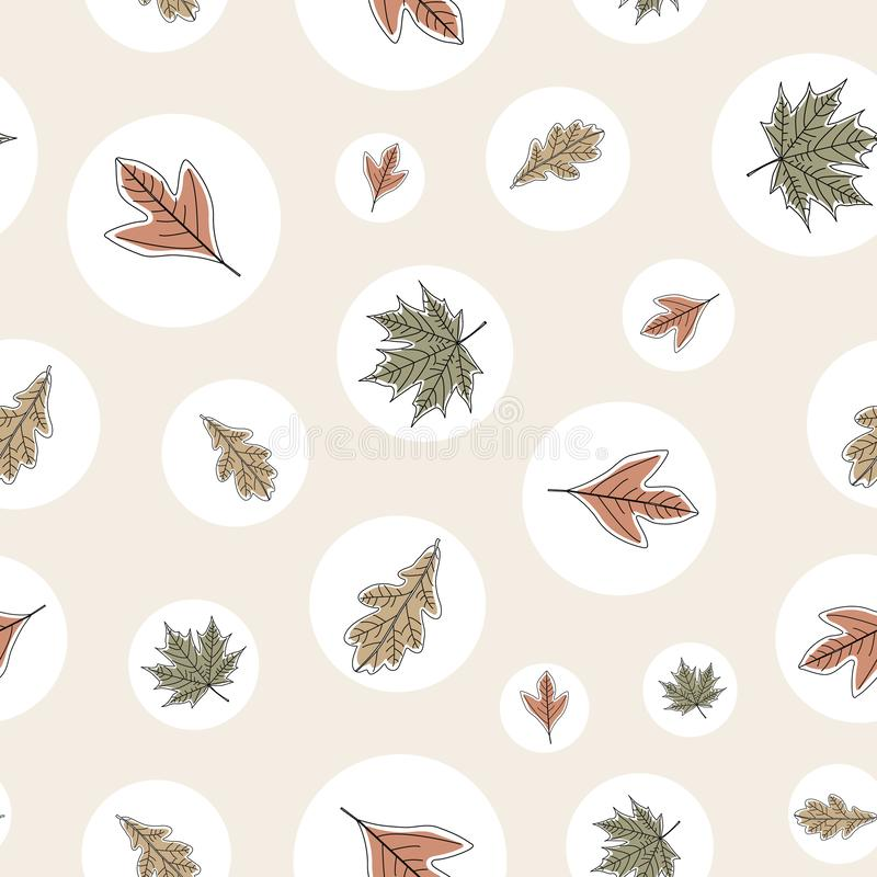 Vector Fall Autumn Leaves in Orange Gold Green Brown in White Circles Seamless Repeat Pattern. Background for textile or book covers, manufacturing, wallpapers royalty free illustration