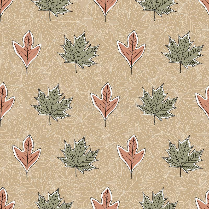 Vector Fall Autumn Leaves in Orange Green on Brown Background Seamless Repeat Pattern. Background for textile or book covers, manufacturing, wallpapers, print vector illustration
