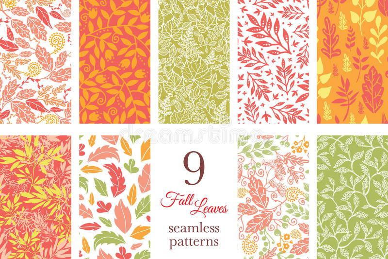 Vector Fall Leaves Nine Set Seamless Patterns stock illustration