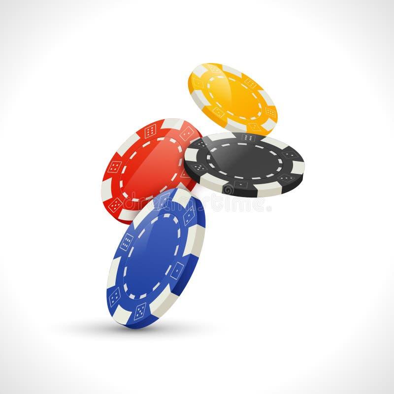 Vector Falling Gambling Poker Chips. Casino leisure illustration.  stock illustration
