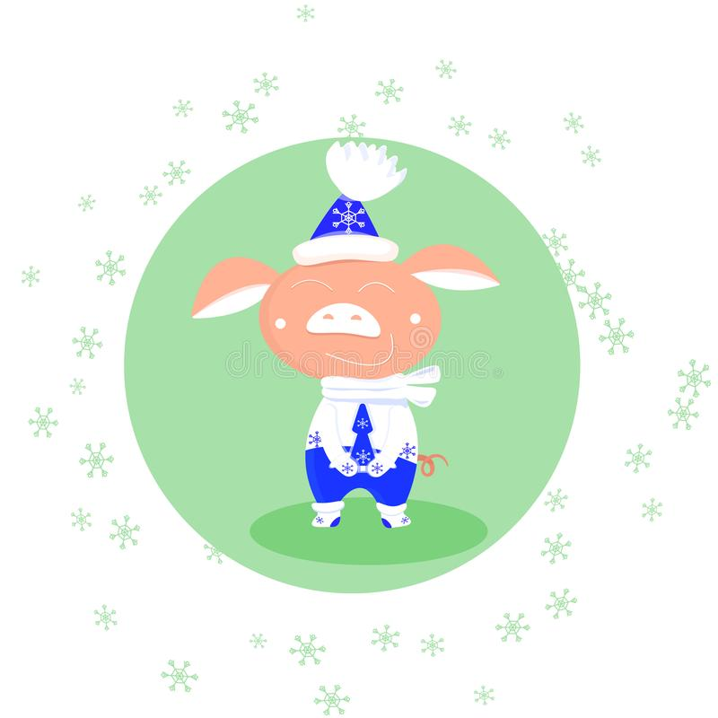 Vector falling snowflakes and cute pig in blue and white mittens, scarf, hat on green round background. Symbol of vector illustration