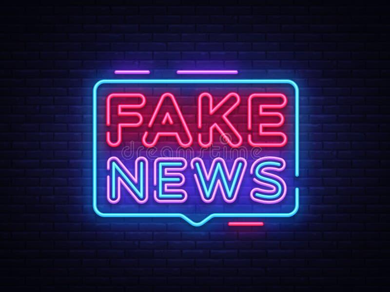 Vector falso de la señal de neón de las noticias Señal de neón de la plantilla del diseño de las noticias de última hora, bandera libre illustration