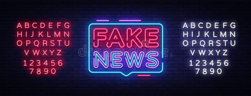 Vector falso de la señal de neón de las noticias Señal de neón de la plantilla del diseño de las noticias de última hora, bandera stock de ilustración