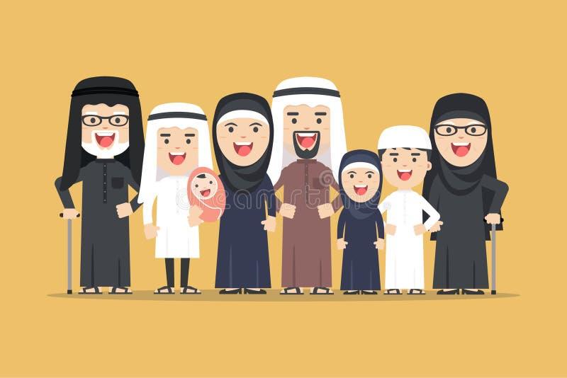 Vector a família árabe, povos muçulmanos, homem dos desenhos animados do saudita e mulher imagens de stock royalty free