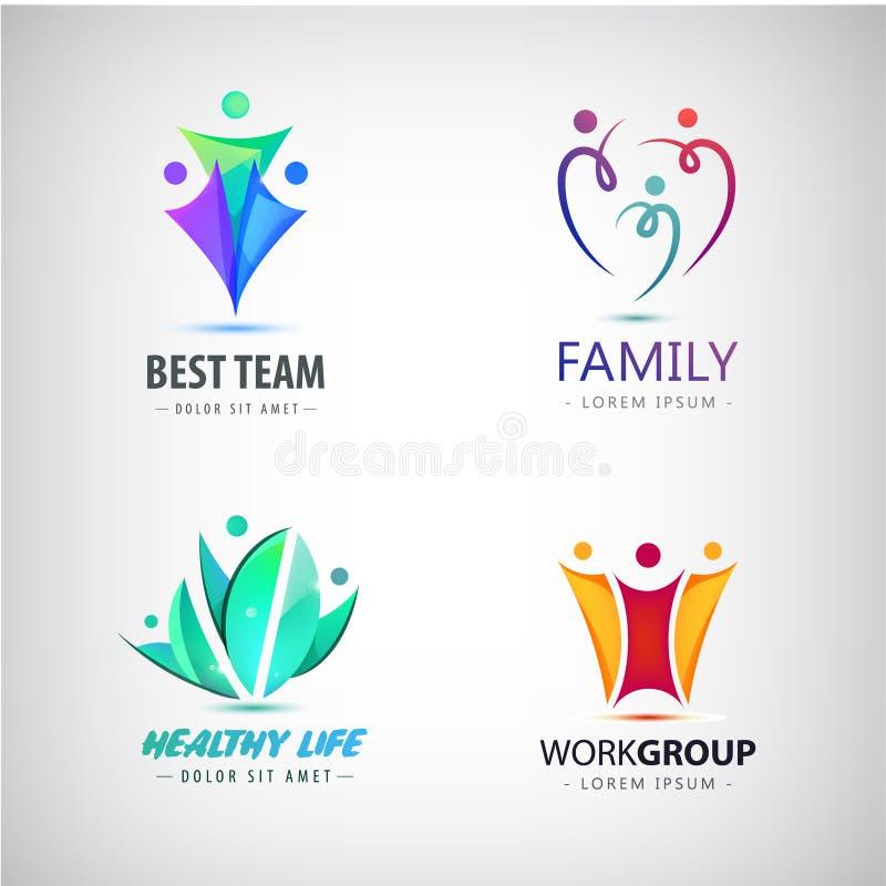 Vector a família estilizada sumário, ícone da ligação da equipe, logotipo, sinal isolado Negócio, grupo de pessoas ilustração royalty free