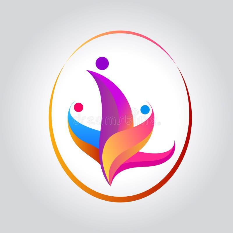 Vector Familie mit Kindern, geformtes Logo der Leutegruppe bunter Kreis lizenzfreie abbildung