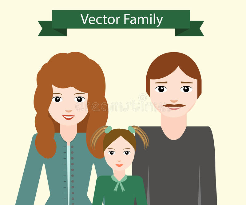 Vector family: a mother, a father and a daughter royalty free stock photo