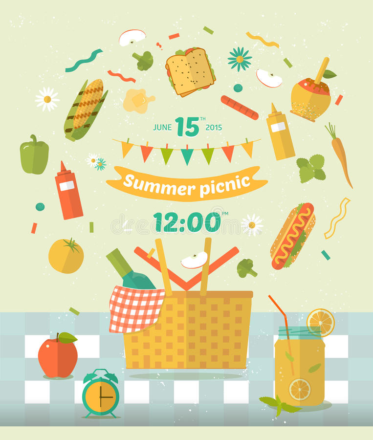 Family picnic glade illustration for nvitation card. Food and pastime icons. Flat. Barbecue items. vector illustration