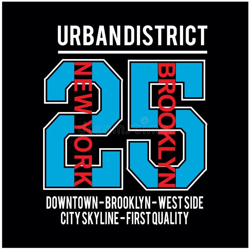 Vector famoso de la camiseta de la tipografía del lugar de Nueva York Brooklyn ilustración del vector