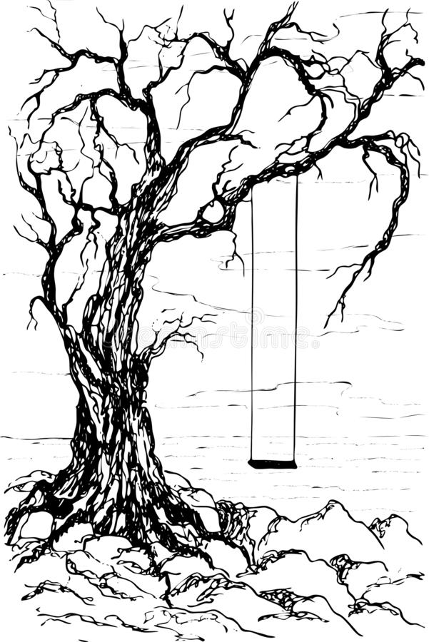 Vector fantasy landscape with a swing on an old tree near the rocky shore of the sea. Black silhouettes isolated on white background. Sketch design, contour royalty free illustration