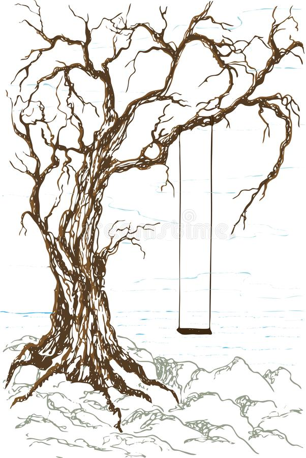 Vector fantasy landscape with a swing on an old tree near the rocky shore of the sea. Colored silhouettes isolated on white background. Sketch design, contour stock illustration