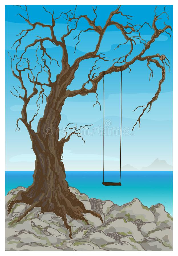 Vector fantasy landscape with a swing on an old tree near the rocky shore of the sea. Flat cartoon style drawing vector illustration