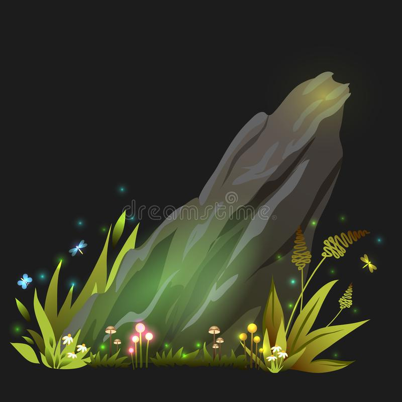 Vector fantasy rock, stone with grass, mushroom and incects vector illustration