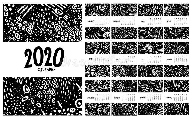 Vector farbiger Monatskalender für 2020 Jahr mit abstrakter Markerdoodle stockfotografie