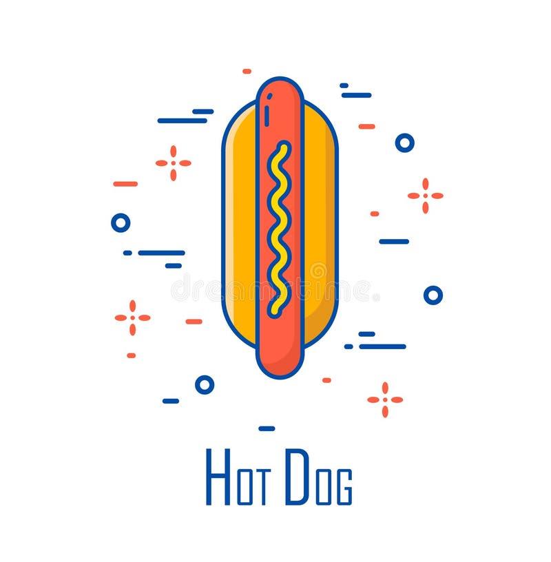 Vector Farbikone mit Hotdog auf weißem Hintergrund Dünne Linie flaches Design Fahne für Schnellimbiß lizenzfreie abbildung