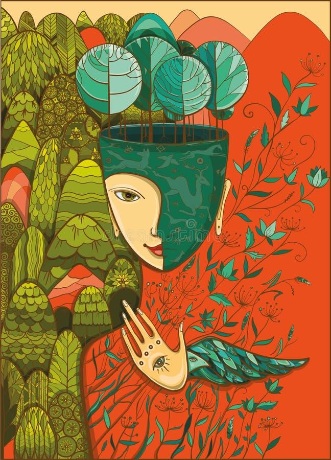 Vector Farbillustration der Göttin der Mutter Natur lizenzfreie abbildung