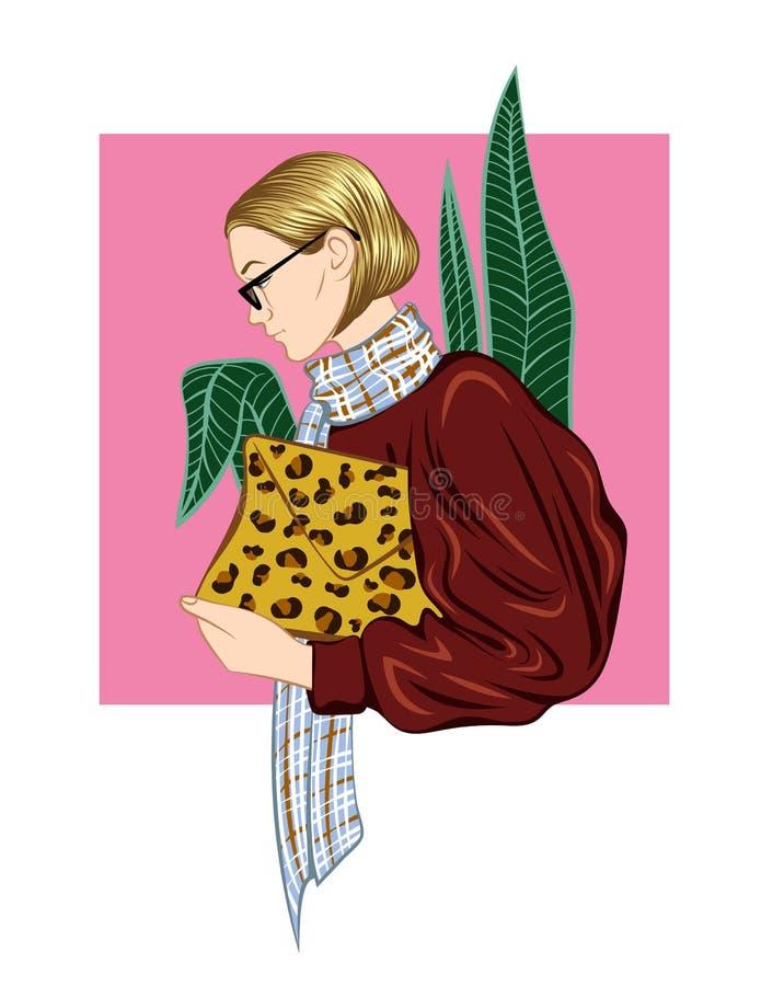 Vector Farbillustration des modern gekleideten modernen Mädchens stock abbildung