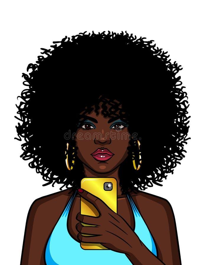 Vector Farbillustration einer Afroamerikanerfrau, die selfie tut stock abbildung