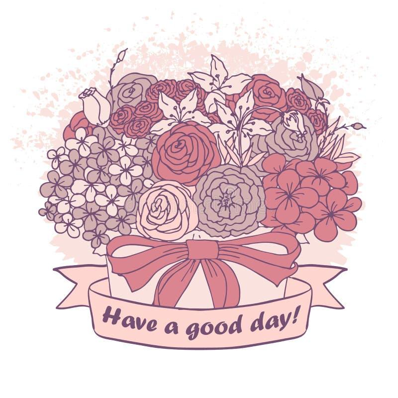 Vector Farbskizze, Blumenstrauß mit gutem Wunsch stock abbildung