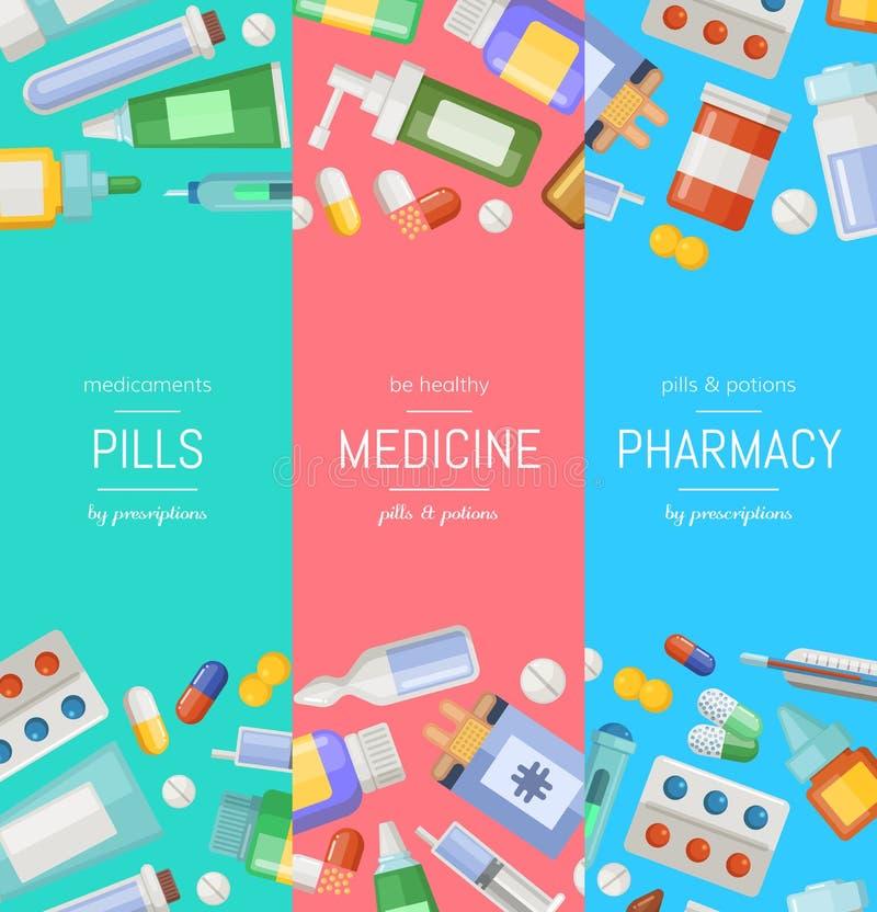 Vector a farmácia dos desenhos animados ou moldes verticais da bandeira das medicinas ilustração stock