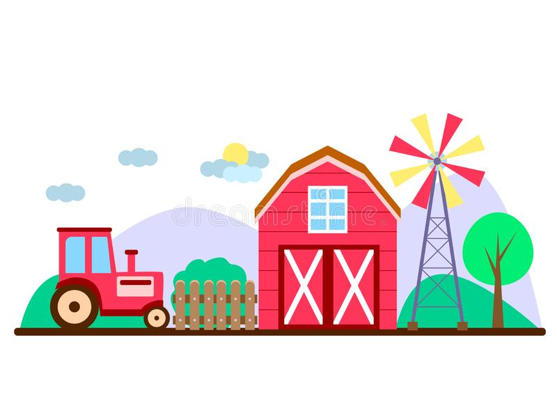 Vector farm in flat style. red barn and tractor. On a rustic landscape royalty free illustration