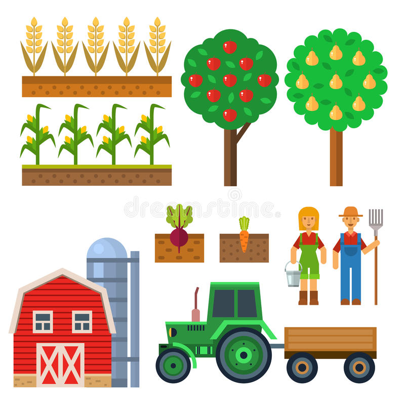 Vector farm harvesting equipment for agriculture and horticulture farming natural fruits and hand tools. Vector set of flat farm icons harvesting equipment for stock illustration