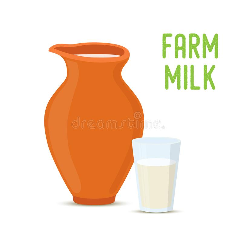Vector farm milk in clay pottery jar, glass cup royalty free illustration