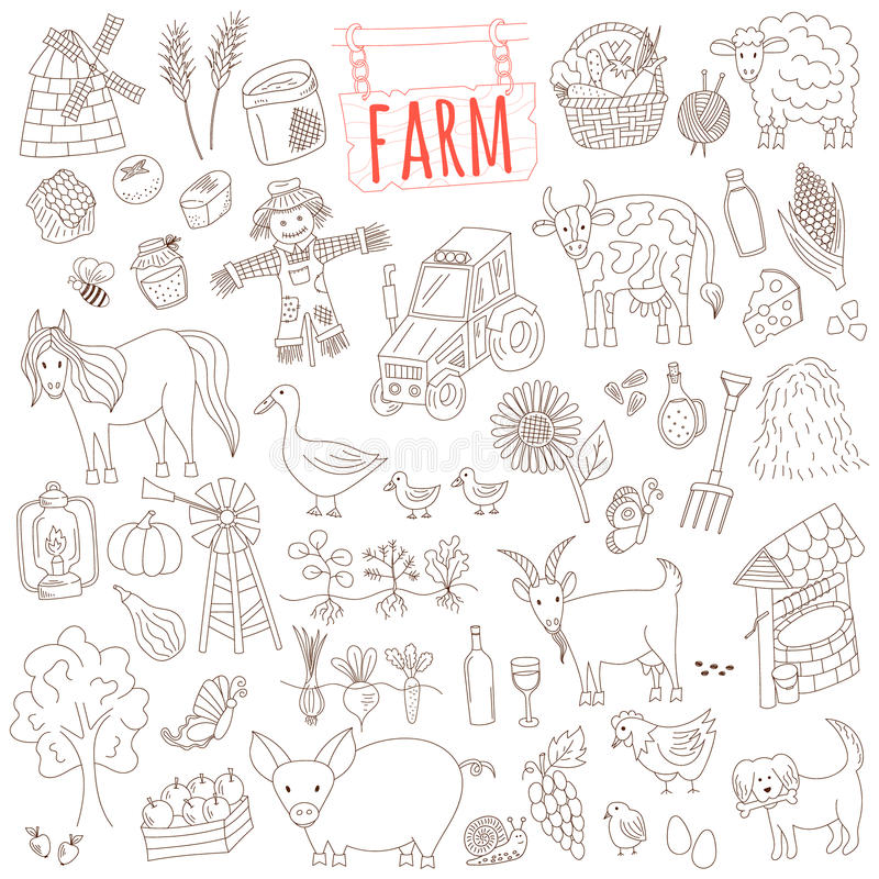 Vector farm themed doodle set. Vector set of doodle farm elements on white background. hand drawn illustration for farming, gardening, agriculture vector illustration