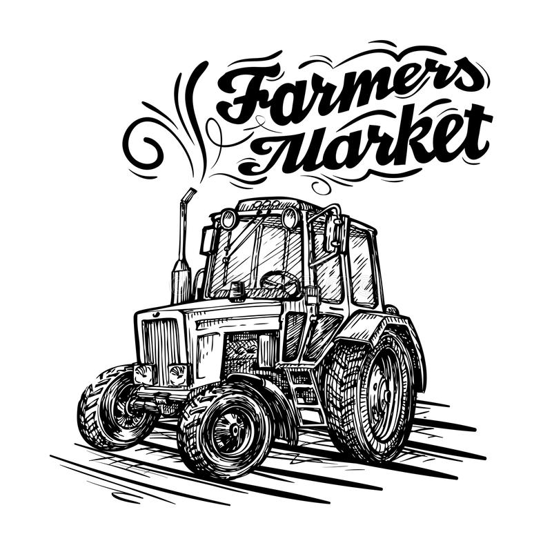 Vector farm tractor hand drawn on white background stock illustration